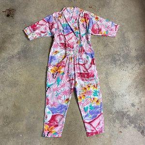 VTG 80's Tropical Cotton Beach Pajama Jumpsuit
